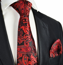 Burgundy Red Paisley Tie and Pocket Square