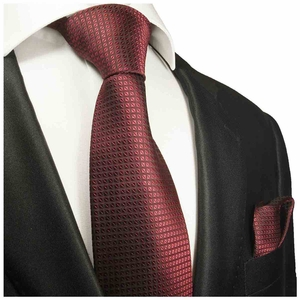 Burgundy Red Silk Tie Set by Paul Malone