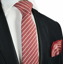 Burgundy Striped Linen Tie and Pocket Square by Paul Malone