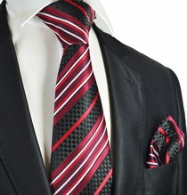 Burgundy Striped Men's Tie and Pocket Square
