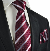 Burgundy Striped Necktie and Pocket Square
