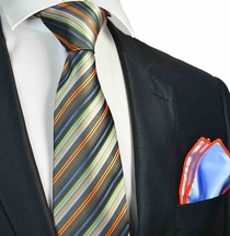 Olive Striped Tie with Contrast  Rolled Pocket Square Set