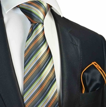 Olive Green Striped Tie with Contrast  Rolled Pocket Square Set