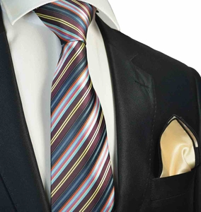 Burgundy Striped Tie with Contrast  Rolled Pocket Square Set