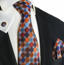 Burnt Ochre Silk Tie and Pocket Square by Paul Malone