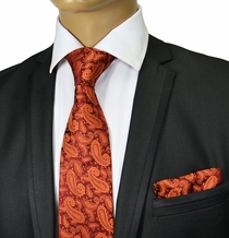 Burnt Orange Paisley Tie Set . Paul Malone