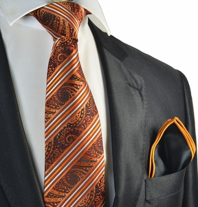 Burnt Orange Striped Tie with Rolled Contrast Pocket Square Set