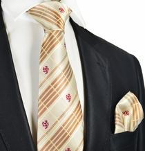 Camel Brown Men's Tie and Pocket Square