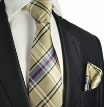 Camel Plaid Men's Tie and Pocket Square