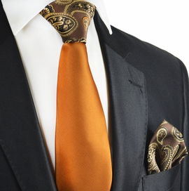 Caramel Brown Paisley Contrast Knot Tie Set by Paul Malone