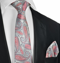 Cayenne Red and Silver Tie and Pocket Square