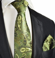 Cedar Green Paisley Tie and Pocket Square