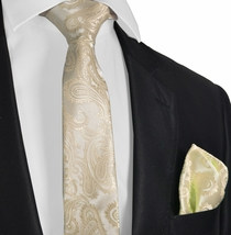 Champagne Paisley Tie and Pocket Square