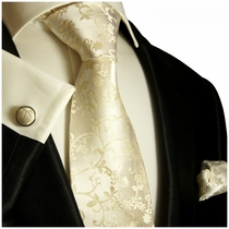 Champagne Silk Tie and Pocket Square by Paul Malone