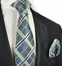 Charcoal and Green Tie and Pocket Square