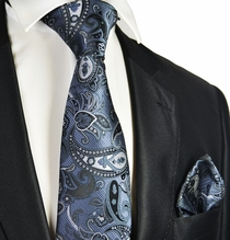 Charcoal Grey Paisley Tie and Pocket Square