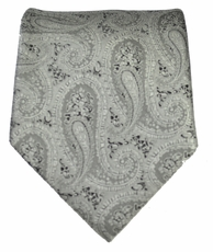 Charcoal Paisley Paul Malone Neck Tie  (P30)