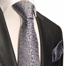 Charcoal Paisley Silk Tie a. Pocket Square . Paul Malone Red Line
