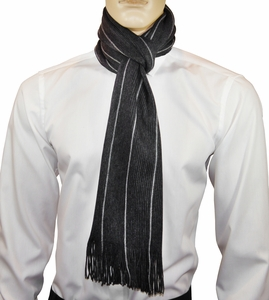 Charcoal Striped Men's Scarf by Paul Malone