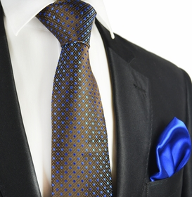 Chestnut and Royal Blue 7-fold Silk Tie Set by Paul Malone