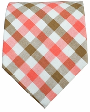 Classic Brown and Red Plaids . Cotton Tie by Paul Malone