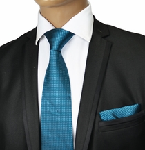 Colonial Blue Silk Tie and Pocket Square by Paul Malone