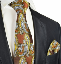 Copper and Gold Paisley Tie and Pocket Square