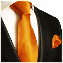 Coral Gold Necktie and Pocket Square