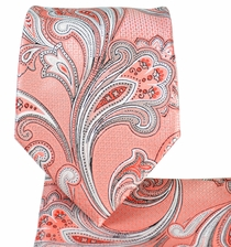 Coral Paisley Necktie and Pocket Square Set