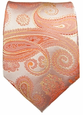 Coral Paisley Paul Malone Silk Necktie (871)