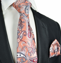 Coral Paisley Tie and Pocket Square