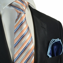 Coral Striped Tie and Navy Blue Rolled Pocket Square Set