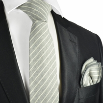 Cream Striped Linen Tie and Pocket Square by Paul Malone