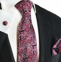 Crushed Berry Paisley Silk Tie Set by Paul Malone