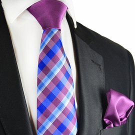 Dahlia and Blue Contrast Knot Tie Set by Paul Malone