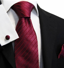 Dark Burgundy Silk Tie Set by Paul Malone