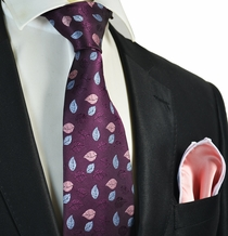 Dark Grape Tie with Coral Rolled Pocket Square Set