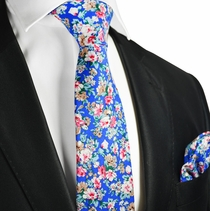 Dazzling Blue Cotton Tie and Pocket Square by Paul Malone