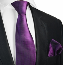 Deep Purple Silk Tie Set . Paul Malone