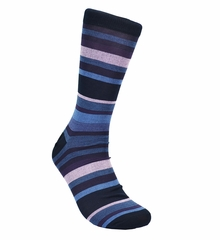 Denim Blue and Purple Stripes Cotton Socks by Paul Malone