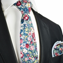 Dragonfly Blue and Red Roses Cotton Tie with Pocket Square