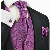 Dry Rose Paisleys Tuxedo Vest Set by Paul Malone
