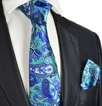 Dynasty Green and Navy Tie and Pocket Square