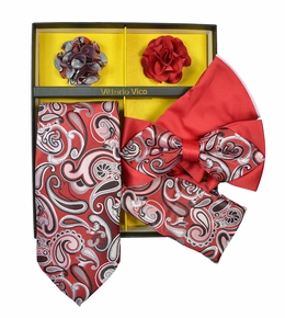 Elegant Red Paisley Tie Set Gift Box