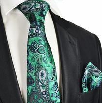 Emerald Green Paisley Tie and Pocket Square