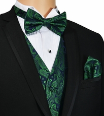 Emerald Green Paisley Vest and Bow Tie Set by Paul Malone