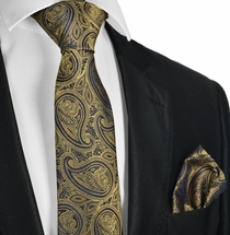 Ermine Brown Paisley Tie and Pocket Square