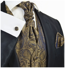 Ermine Brown Paisley Tuxedo Vest Set by Paul Malone