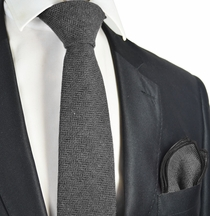 Excalibur Grey Wool Tie Set by Paul Malone