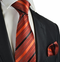 Fire Orange Striped Necktie and Pocket Square